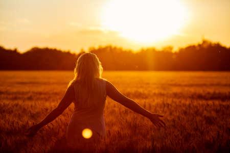 Beauty Romantic Girl Outdoors. Beautiful Teenage Model girl in Casual Short Dress on the Field in Sun Light. Blowing Long Hair. Autumn. Glow Sun, Sunshine. Backlit. Toned in warm colors Banco de Imagens