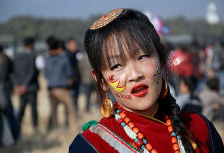 ritual: Kirant people participate in public dance ritual at Tudikhel in Kathmandu, Nepal