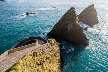 breath taking: Breath taking scenery on the west cost of Ireland, top of the Slea Head drive on the Dingle peninsula in sunset of lovely April sunny day.