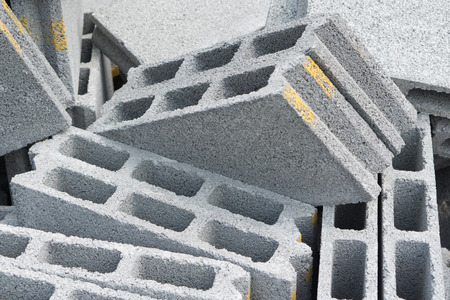 masonary: Gray concrete construction block