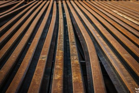 unnecessary: Old steel rails Stock Photo
