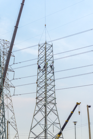 Construction of high voltage post.High-voltage tower photo
