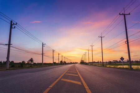 highway: road in the morning