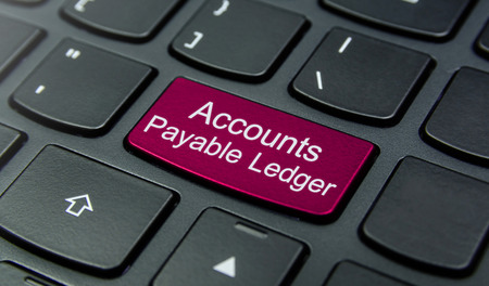 accounts payable: Close-up the Accounts Payable Ledger button on the keyboard and have Magenta color button isolate black keyboard