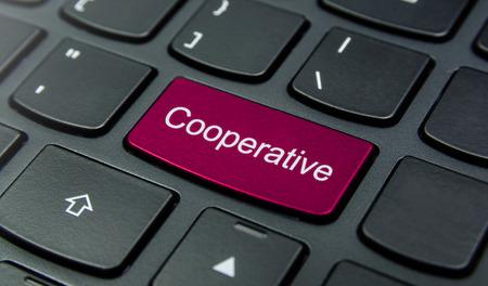 cooperativismo: Primer plano el botón Cooperativa en el teclado y tienen botón de color magenta aislar el teclado negro Foto de archivo