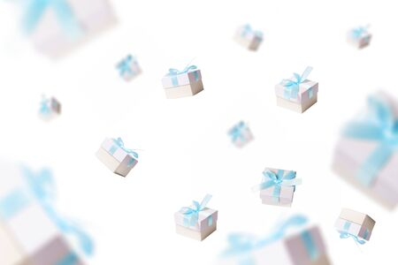 lots of gifts falling from the sky, white background