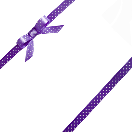 purple ribbon: Bow with ribbon, isolated on white