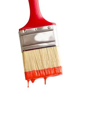 red paintbrush isolated on white macro shot. Stock Photo