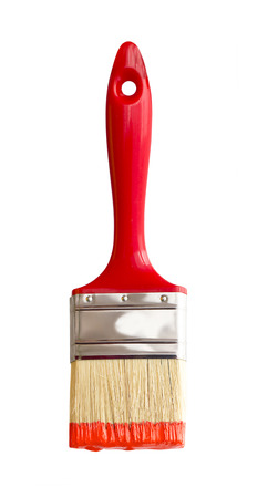 Rode penseel op wit wordt geïsoleerd Stockfoto - 48694153