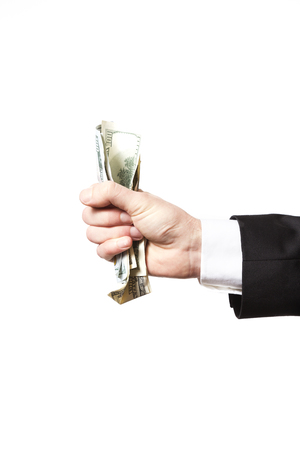 Man hand with money on white bacground.
