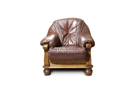 Brown classical armchair on white background. Stock Photo