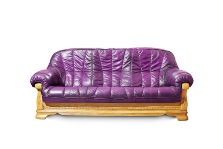 Purple classical sofa on white background.