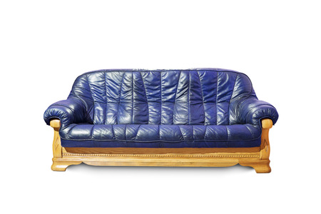 Blue classical sofa on white background.