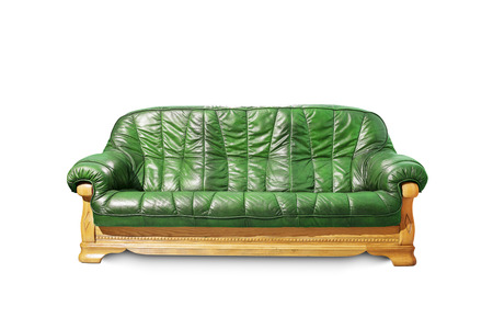 Green classical sofa on white background.