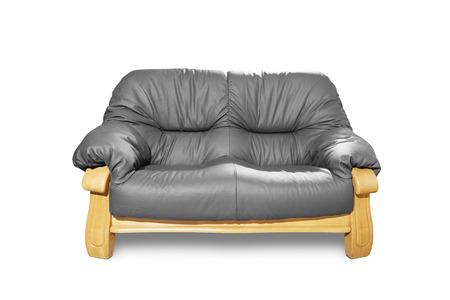 Grey classical sofa on white background. Stock Photo