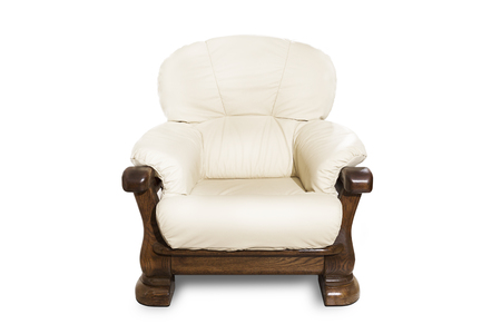 white classical armchair on white background.
