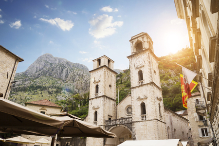 Montenegro, Kotor, Cathedral of St. Tryphon, cityscape.