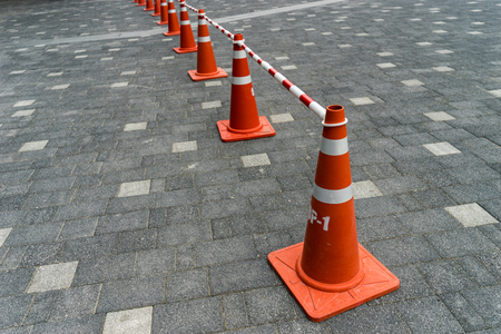 industrial accident: Triffic cone on the asphalt Stock Photo