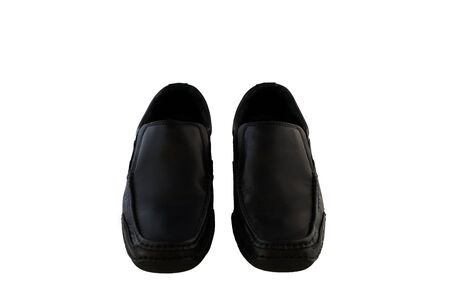 footware: Black leather mens shoes white blackground