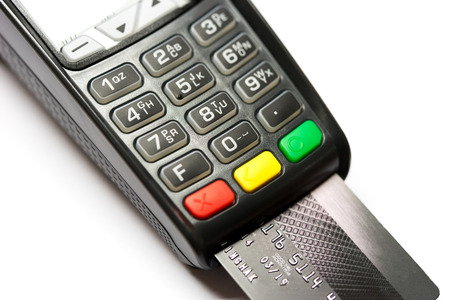 pulling money: Close up Credit card payment white background