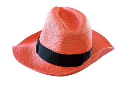 pink hat: Panama style pink hat on isolated background
