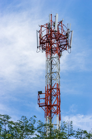 repeater: antenna repeater tower on blue sky Stock Photo
