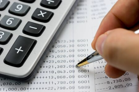 verify: Verify the monthly bank statement Stock Photo