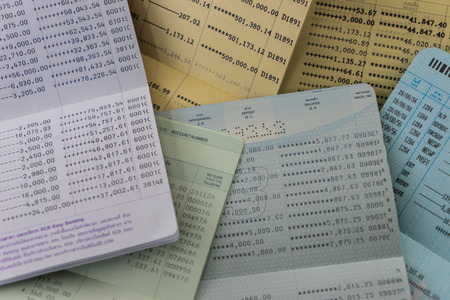 bank records: A Lot of Book bank statement Stock Photo