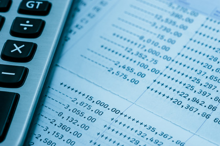 bank statement: bank statement with calculator