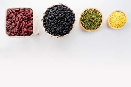 Soy beans, Red beans, black eyed peas and green beans with the health benefits of whole grains.