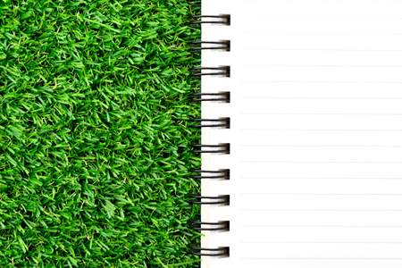 Orange notebook on green grass.