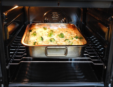 Baked pasta with broccoli and cheese. photo
