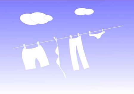 White laundry drying on a clothesline in good weather. Stock Photo - 11133214