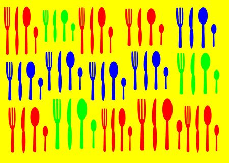 Drawing of blue, red and green cutlery on a yellow background. Stock Photo - 16031451