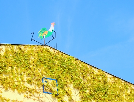 Tin colored rooster on the roof indicating wind direction in compass  photo