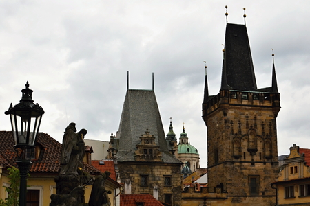neo gothic: View of the historical part of Prague from Charles Bridge
