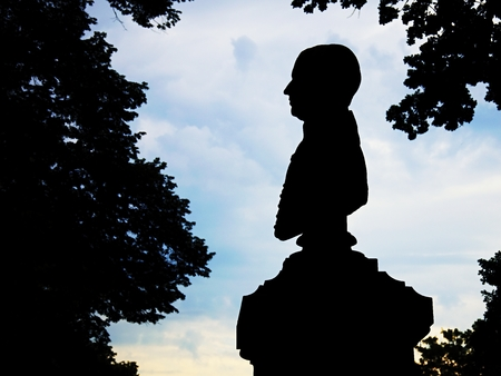 busts: Silhouette busts kind of poet, politician or another important person in the park.
