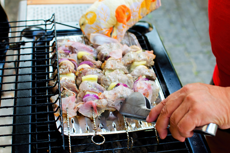 paunch: Prepared skewers of pork, bacon, onion and vegetables on the grill.