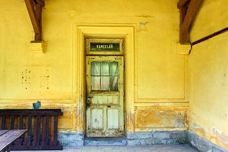 Old office at a small abandoned village station in South Bohemia. Stock Photo
