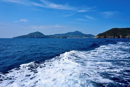 View from the cruise ship to the mainland in the Gulf of Naples.