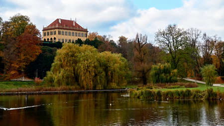 Castle in the autumn park in the capital city of Prague. Editöryel
