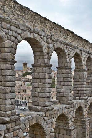 segovia: Ancient aqueduct in Segovia, Spain