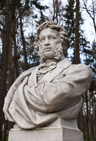 national poet: Sculpture of Pushkin in park Arkhangelskoe, Moscow, Russia.