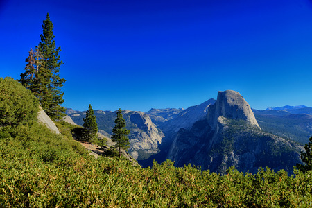 half dome: Glacier Point overlook view and Half Dome in Yosemite National Park Stock Photo