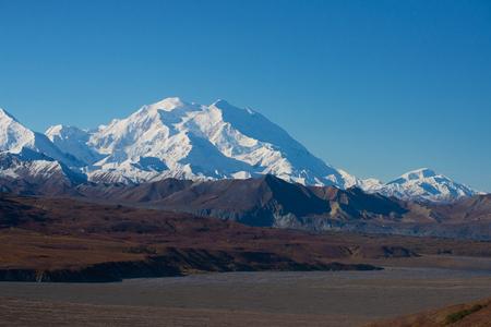denali: Mount McKinleys snowy peak , Denali National Park, Alaska, US