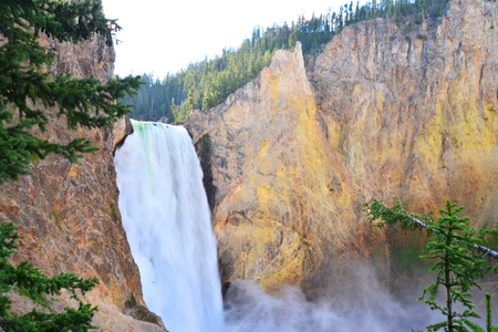 lower yellowstone falls: Lower Falls in the Grand Canyon of the Yellowstone, Wyoming