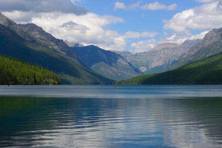 bowman: lake bowman in glacier national park Stock Photo