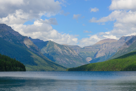 Glacier National Park: lake bowman in glacier national park Stock Photo