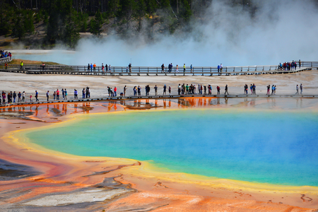 Grand Prismatic Spring, Yellowstone National Park, Wyoming Stock Photo