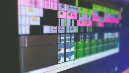 Marcro shot of video editing timeline on computer screen